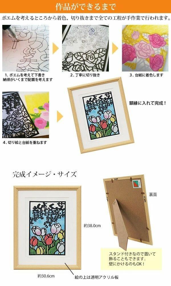 季節の花の切り絵とネームインポエムの米寿祝い